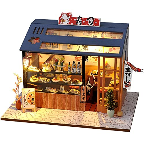 NIKALONG DIY Food Shop Dollhouse Creative Home Set Small Wooden Model Home Set, Dollhouse, Game Room Creative Model, Birthday Best Gift, For Boys and Girls, Girls Friends (Sushi Shop)