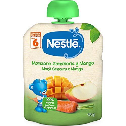 Nestlé Bolsita de puré de frutas, variedad Manzana Zanahoria y Mango, para...