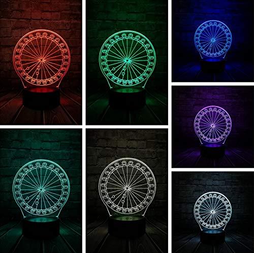 Gadget Grande Roue 3D LED Lampe USB Source Optique Acrylique Économie D'énergie Bureau Romantique Fille Cadeau Décoration