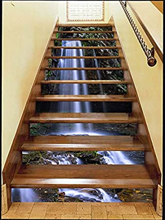 Details about  /3D Waterfall Lake ZHU160 Stair Risers Decoration Photo Mural Vinyl Wallpaper Amy