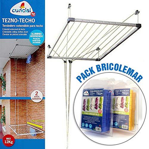 Bricolemar Tendedero de Techo Sube y Baja Cuncial Tezno-Techo + 40 Pinzas Irrompibles Monoblock Pack
