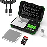 Gram Scale Pocket Size, 200/0.01g Small Scale w/ Tray, Herb Coin Scale LCD Backlight Arrow Scale with USB Power Supply Port Read in 6 Units 50g Calibration Weight Included