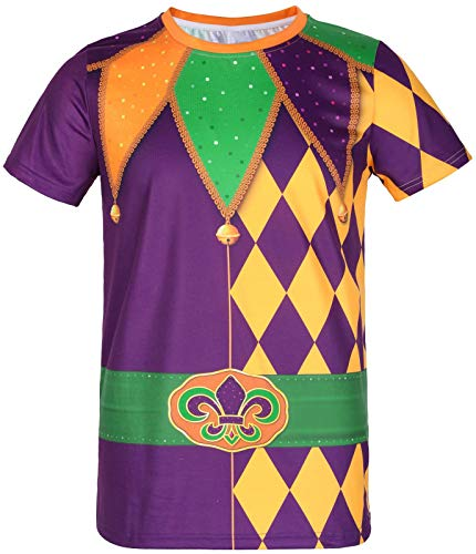 COSAVOROCK Disfraz de Payaso para Hombre Camiseta Jester L