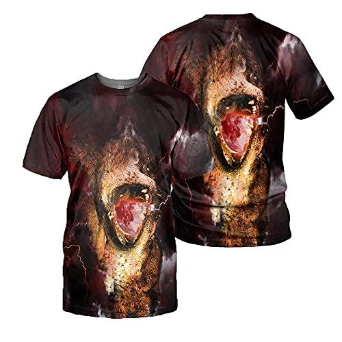 LIUBAOBEI 3D Camisetas para Hombre,Camiseta con Estampado De Lobo Animal para Hombre, Moda De Verano, Manga Corta, Cuello Redondo En 3D, Tops De Manga Corta para Hombre, Ropa De Calle Hip Hop-S
