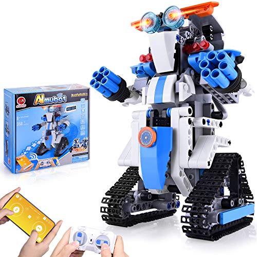 CIRO Roboter Kinder Spielzeug Bausatz Programmierbarer and Ferngesteuerter Steuerung per APP und Fernbedienung STEM Technik Spielzeug Weihnacgtengeschenkes für Kinder ab 8 Jahren