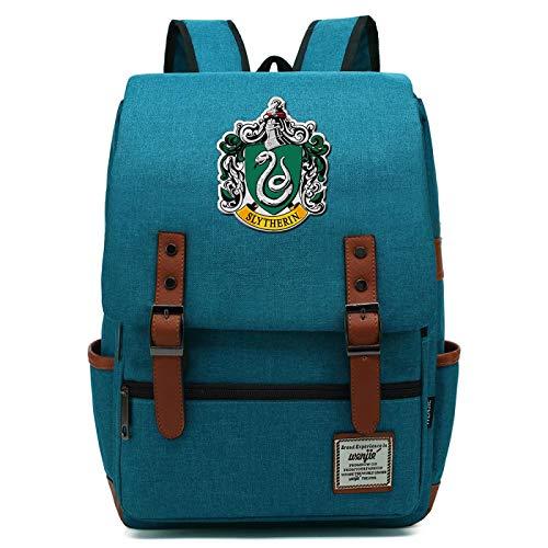 MMZ Harry Potter Backpack Slytherin School Bag Ladies Youth Children Travel Backpack Medium Ocean Blue