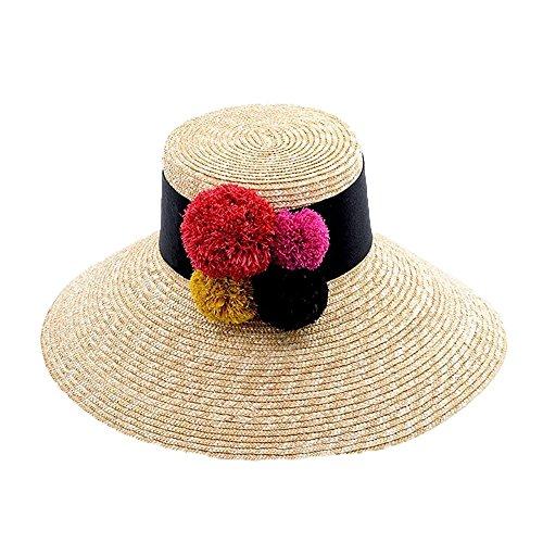 Ying xinguang Chapeau de Dame et Balle Chapeau Plat de Paille Dame en Plein air Plage Chapeau de Paille !