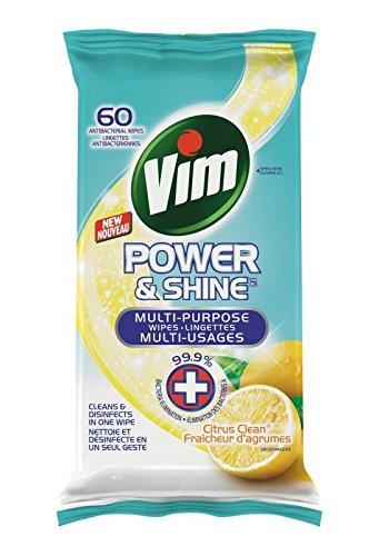 Vim Lemon Antibacterial Wipes 60 Count