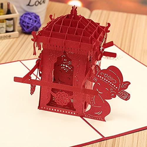 3D festival Tarjeta felicitación Creativo tridimensional tallado en papel boda china tarjeta de felicitación de boda tarjeta de bendición regalo decoración de escritorio