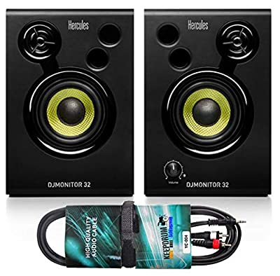 Hercules DJ Monitor 32 Monitor Boxes + Keepdrum Audio Cable RCA Jack 3 m by Hercules DJ