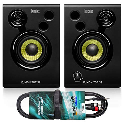 Hercules DJ Monitor 32 Monitor-Boxen + keepdrum Audiokabel Cinch-Klinke 3m