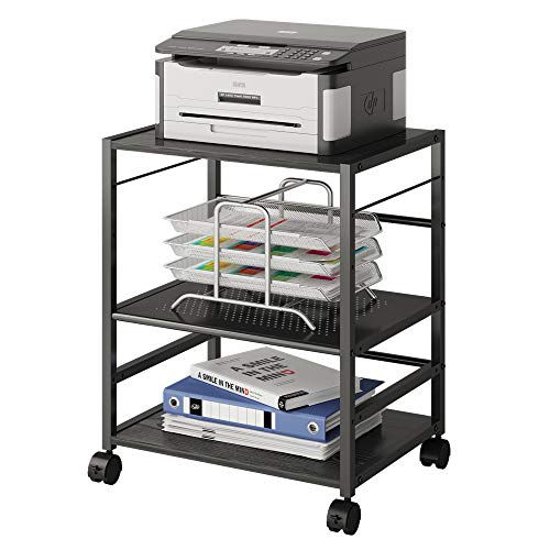 DEVAISE Mobile 3-Shelf Printer Stand with Adjustable Shelves, Modern Printer Cart with Large Storage Space, Printer Stand for Home Office, Black