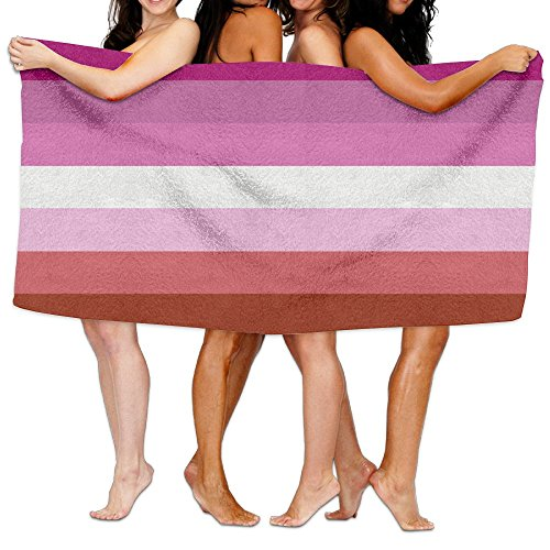 SWEET-YZ Lesbian Pride Flag Moisture Absorption Bath Towels Beach Towels For Adult & Teen
