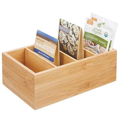 mDesign Aufbewahrungsbox – praktischer Kasten mit vier Fächern zur Lebensmittelaufbewahrung – moderner Küchen Organizer für Tütensuppen, Gewürze etc. – naturfarben