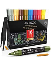 Arteza Liquid Chalk Marker Set of 16 (16 Pastel Colors, 16 Replaceable Chisel Tips, 1 pc Tweezers, 50 Labels, 2 Sticky Stencils) - Water Based - Erasable - for Chalkboard and Multi Surface Use
