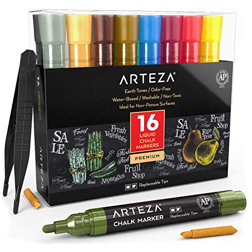 Arteza Liquid Chalk Marker Set of 16 (16 Pastel Colors, 16 Replaceable Chisel Tips, 1 pc Tweezers, 50 Labels, 2 Sticky Stencils), Water Based, Erasable, Office Supplies for Chalkboard and Multi Surface Use