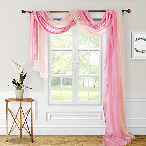 HOMEIDEAS Wedding Arch Drapes Window Scarfs 30 x 216 Inches Long Sheer Valance Scarf Scarf Curtains Voile Scarf Valance Window Treatment Swags Drapes for Living Room,Blush & Dusty Rose,Set of 2