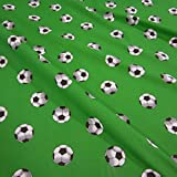 Meterware Stoff Baumwolle Fussball grün Rasen weiß