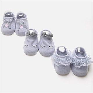 LiuQ, Bebé Calcetines 3 par / lote calcetines de encaje de flores de bebé recién nacido calcetines de algodón antideslizantes for niños calcetines de piso arco calcetines de niña primavera verano niñas rega