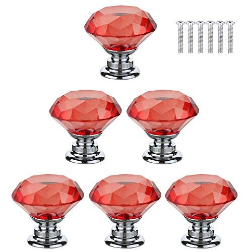 BOZONLI Pomos de Cristal Rojo Tirador para muebles Aleación de Cinc Diamante Pomos y Tiradores para Alacena Baño Cocina Gabinetes( 6 Piezas 30mm)