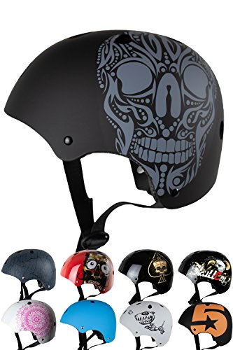 Skullcap® BMX Helm - Skaterhelm - Fahrradhelm Totenkopf - Herren Damen Jungs & Kinderhelm,schwarz matt, Gr. S (53-55 cm), Skull