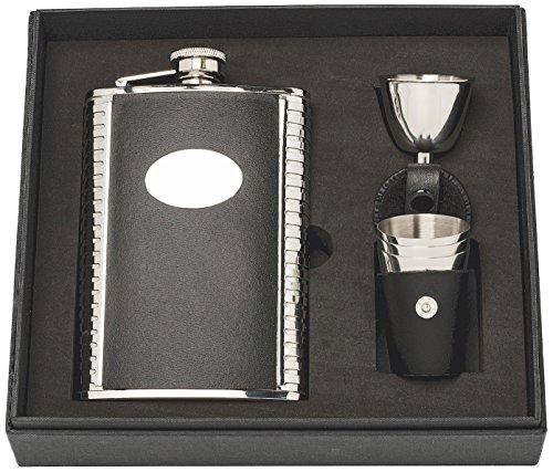 Herbertz Herren Taschenflasche-Geschenkset mit 3 Bechern und Einfülltrichter im Lederetui Flachmann, Silber, 237ml