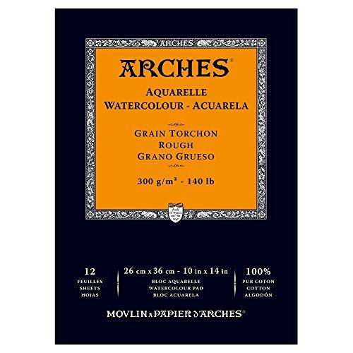ARCHES Aquarellpapier Papel de Acuarela, 100% Algodon, Blanco, 36x26x1 cm, 12