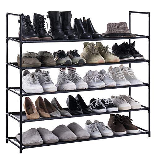YOUDENOVA Zapatero de 5 niveles, estable y duradero, tela no tejida, organizador de almacenamiento de zapatos, 39.4 x 11.0 x 35.4 pulgadas, color negro