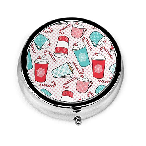 Round Pill Case/Box, Candy Coffee Portable Medicine Tablet Vitamin Organizer for Purse Pocket Travel Gift (Candy Coffee)