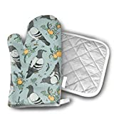 Oven Mitts And Pot Holders Set,Pigeon Dress Oven Mitts Titulares De Ollas, Fashion Cool Kitchen Oven Mitt Sets Para Cocinar Hornear Artesanía