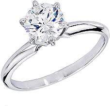 Dazzlingrock Collection IGI Certified 1.05 Carat (ctw) Round White Diamond Ladies Engagement Solitaire Ring 1 CT, 14K White Gold