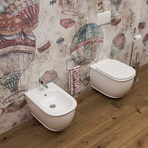 Sanitari bagno Bidet e Vaso WC SOSPESI rimless filomuro con coprivaso sedile softclose. Genesis