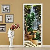 FLFK 3D Adhesivo Cascada Europea Vinilos Puerta Pegatina Pared Murales para Cocina Sala de Baño Decorativos 77X200cm