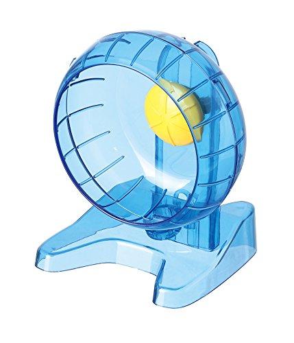 Satispet - Rueda de ejercicio para hámster sirio, grande, azul, superficie antideslizante para correr para ardillas y micrófono, ultra silencioso y diseño seguro para cola, promueve la actividad física