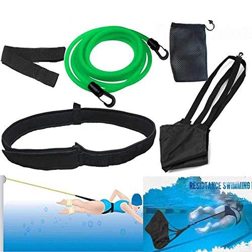 Swim Tether Stationary Swimming, 9.85 Ft Swimming Band with Swim Parachute, Stationary Swim Training Resistance Belt, Static Haness Swim in Place, Swim Bungee Cords