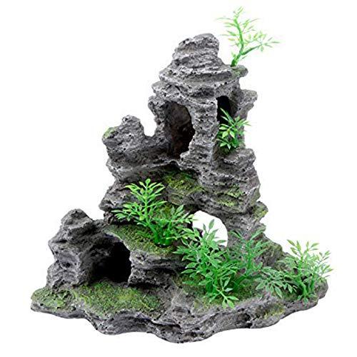 Uotyle水槽 オブジェ アクアリウム オーナメント 置物 おしゃれ 水槽 石 古代 築山 アクアリウムセット 樹脂製(23 x 10 x 23cm)