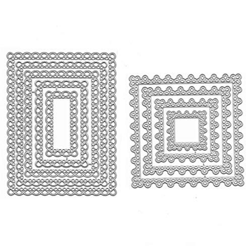 UNWSTYU Quadratische Stanzschablone aus Metall, für Scrapbooking und Album, Stempelpapier