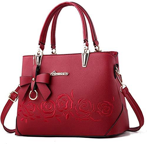 Oinna Handtaschen Damen Umhängetaschen Mädchen Casual Handtaschen Damen Modetaschen Exquisite Lederhandtaschen 30 * 13 * 21cm(Rotwein )