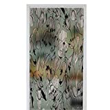 Green Leafy Flower Window Film Stained Glass Stickers Summer pattern with beautiful flowers iris Hand draws field plants in ink botanical illustration vintage Sprig with leaves buds fl 35.4 ' x 78.7 '