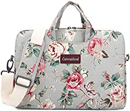 Canvaslove Rose Pattern Water Resistant Light Weight Laptop Shoulder Messenger Bag for MacBook Air Pro 13 inch Surface Laptop Book 13.5 inch and 13.3 Inch Laptop