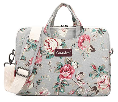 Canvaslove Grey Rose Pattern Water Resistant Laptop Shoulder Messenger Bag for MacBook Pro 16 inch and 14 inch to 15.6 inch Laptop