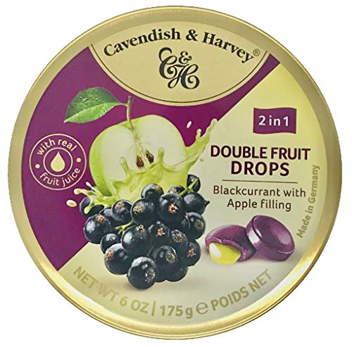 Cavendish & Harvey Double Fruit Drops Blackcurrant with Apple Filling: Johannisbeer-Bonbons mit flüssiger Apfelfüllung ( 1 x 175g )
