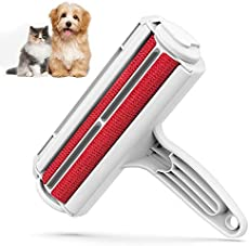 DELOMO Pet Hair Remover Roller - Dog & Cat Fur Remover with Self-Cleaning Base - Efficient Animal Hair Removal Tool - Perfect for Furniture, Couch, Carpet, Car Seat, Red