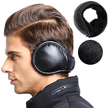 MeiLiMiYu Men s Waterproof Ear Warmers Unisex Fleece Earmuffs Adjustable Ear Muffs Behind Head Black-water Proof One Size