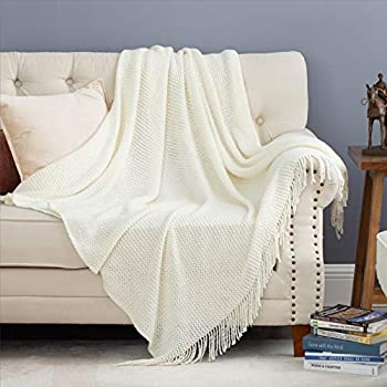Bedsure Off White Throw Blanket for Couch Lightweight Knit Woven Blanket 50x60 Inch - Soft Farmhouse Decorative Blanket with Tassels for Bed Couch Sofa