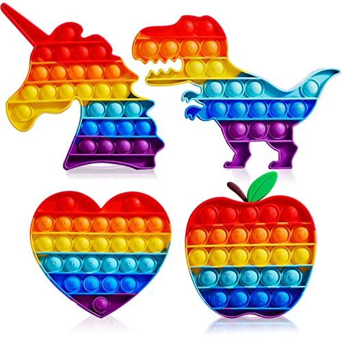 Abesee Fidget Pop Sensory Toys 4-Pack Rainbow Pop Fidget Toys Kids Reducing Pressure Pop Fidget Toys Push it Bubble Pop Toy for Boys & Girls