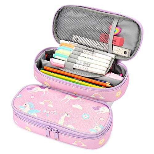 Mibasies Estuche para lápices para niñas pequeñas y niños (unicornio morado)