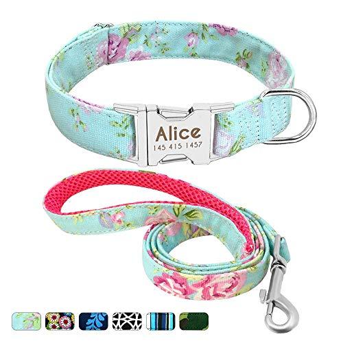 Beirui Personalisiertes Hundehalsband und Leine, Set mit Schnellverschluss-Schnalle, 1,2 m lang, mit Leine und Halsband mit Blumenmuster, verstellbares Halsband für kleine und mittelgroße Hunde