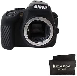 First2savv Black Soft Silicone Armor Skin Rubber Protective Camera Case Nikon D3400 TJ-D3400-GJ-black