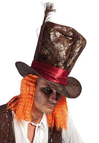 P' tit Clown–54340–Cappello similpelle Cappellaio Matto con capelli adulto–Taglia unica